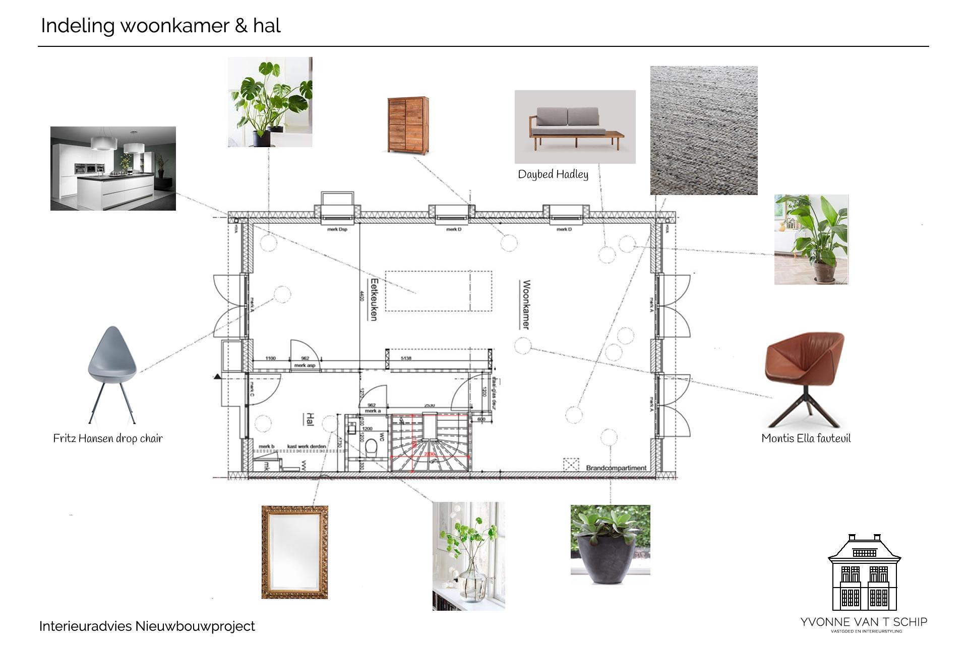 Indeling woonkamer en hal